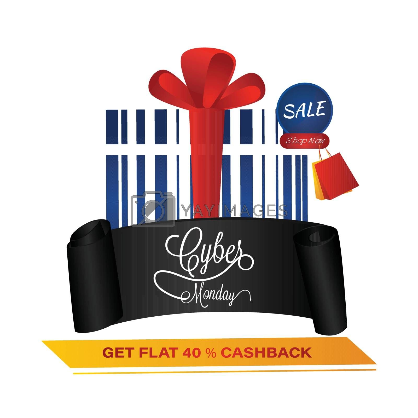 Advertisement concept, template design with barcode as gift box with 40% discount offer on white background for Cyber Monday Sale.