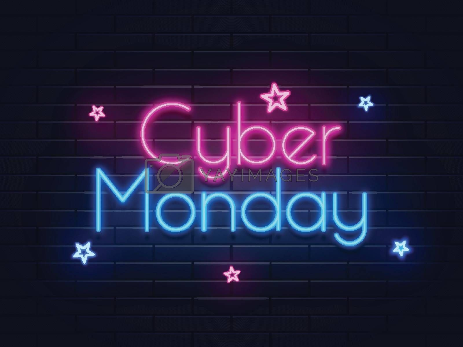 Neon text Cyber Monday on brick wall background with stars for advertisement concept.
