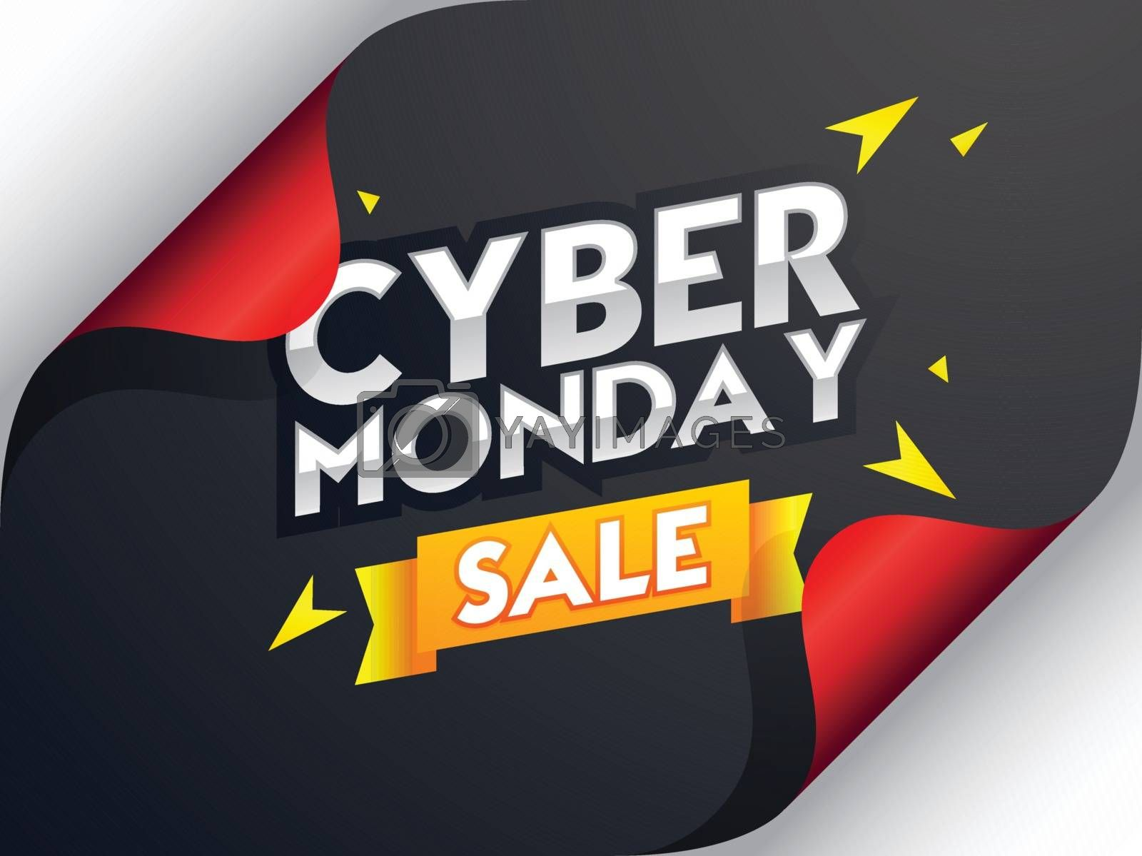 Cyber Monday Sale lettering on curl paper background, advertisin by aispl