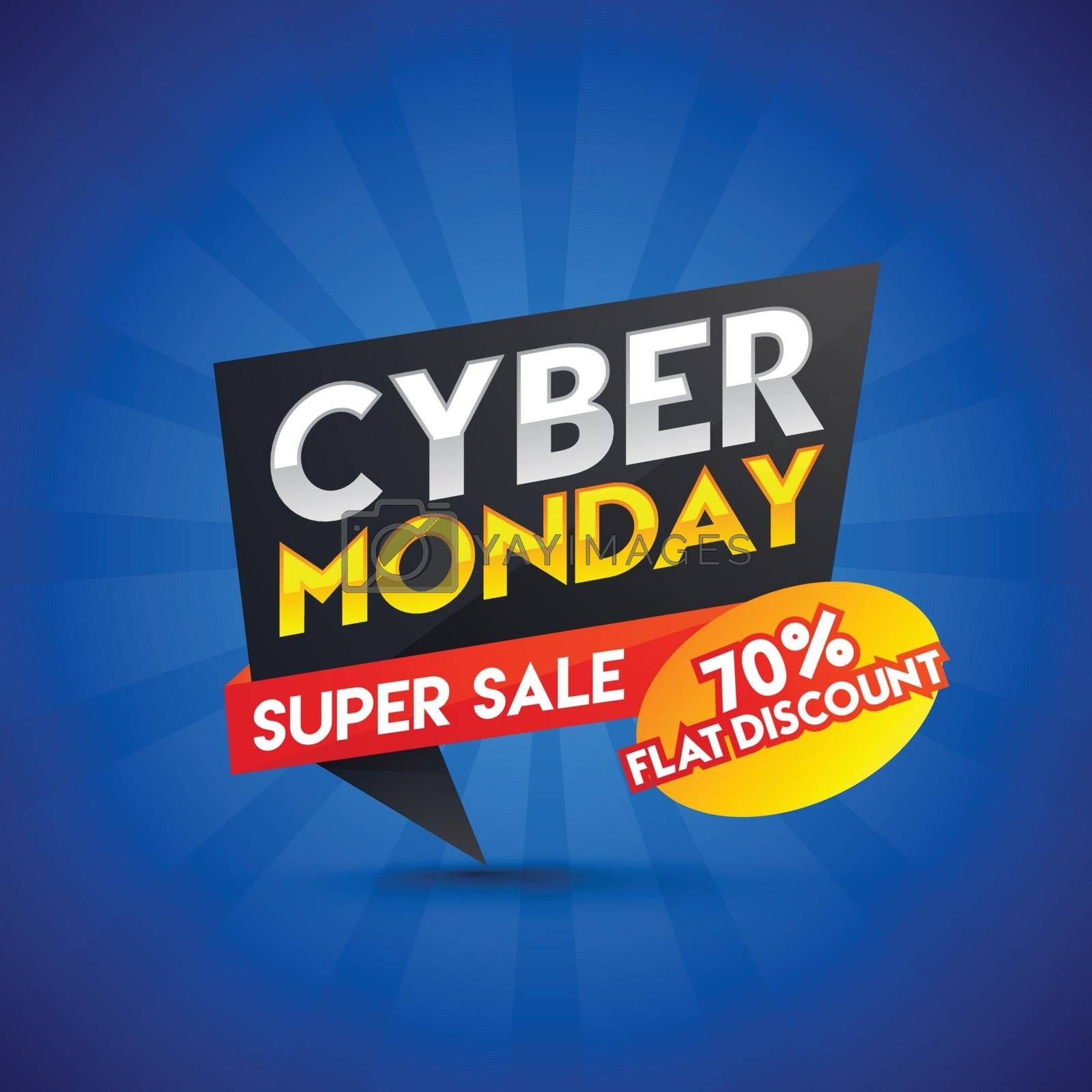 Super sale ribbon or tag with flat 70% discount offer on blue ray background for Cyber Monday sale.