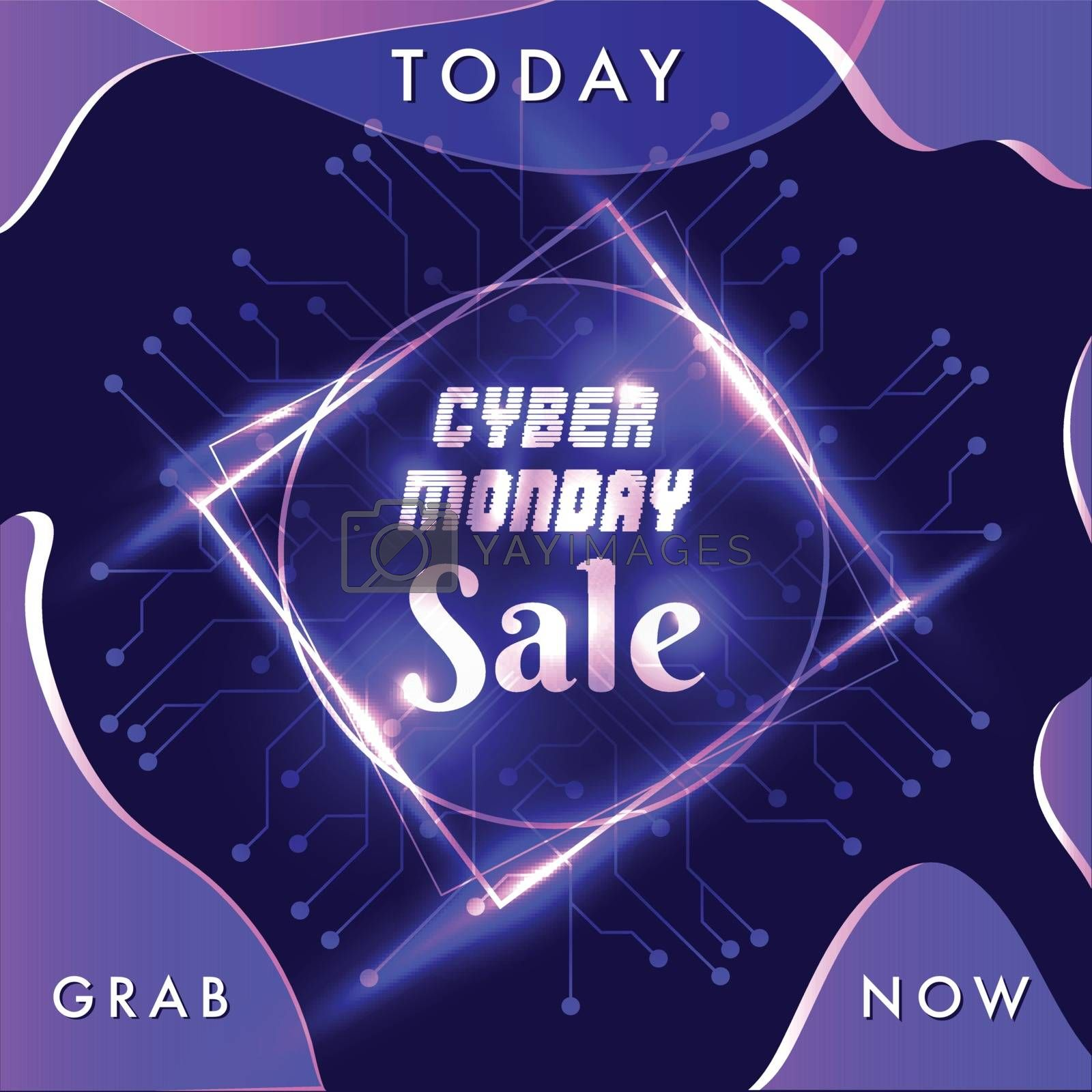 Advertising template for flyer design with shiny text Cyber Monday Sale on blue circuit background.