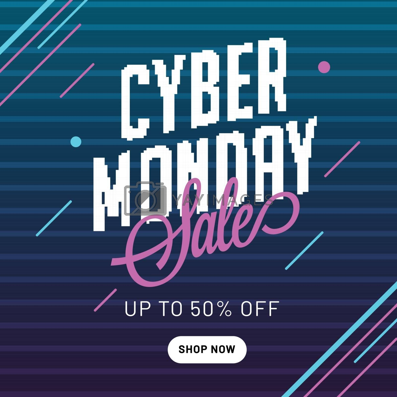 Up to 50% discount offer for Cyber Monday Sale, advertising template or flyer design.