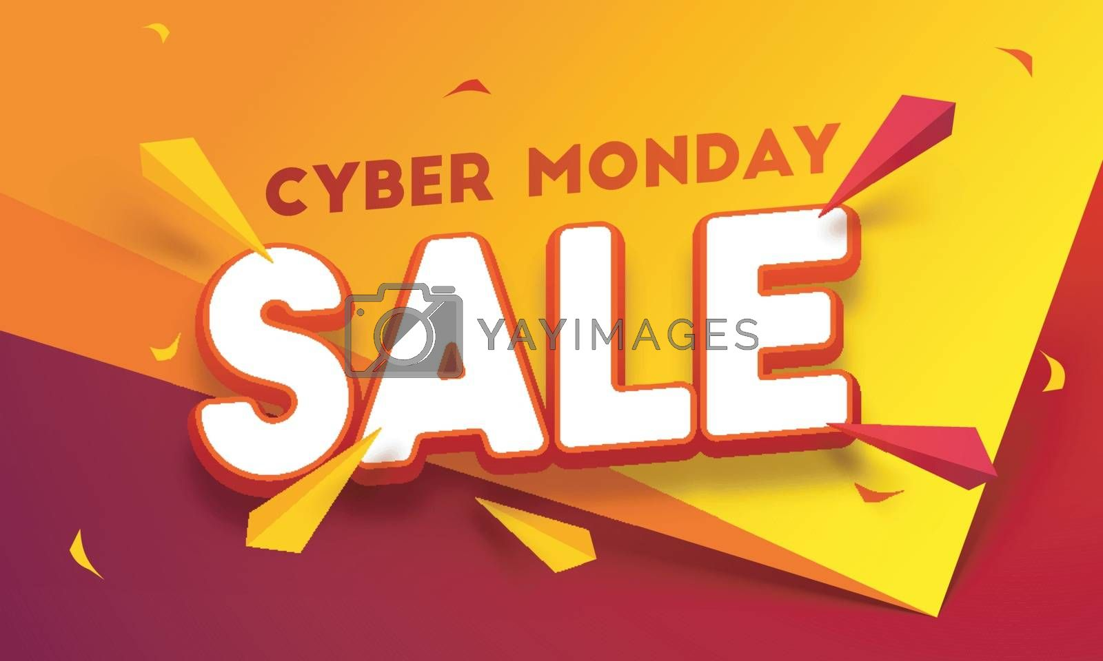 3D text Sale on paper folding background with abstract elements. Cyber Monday Sale poster or template design.