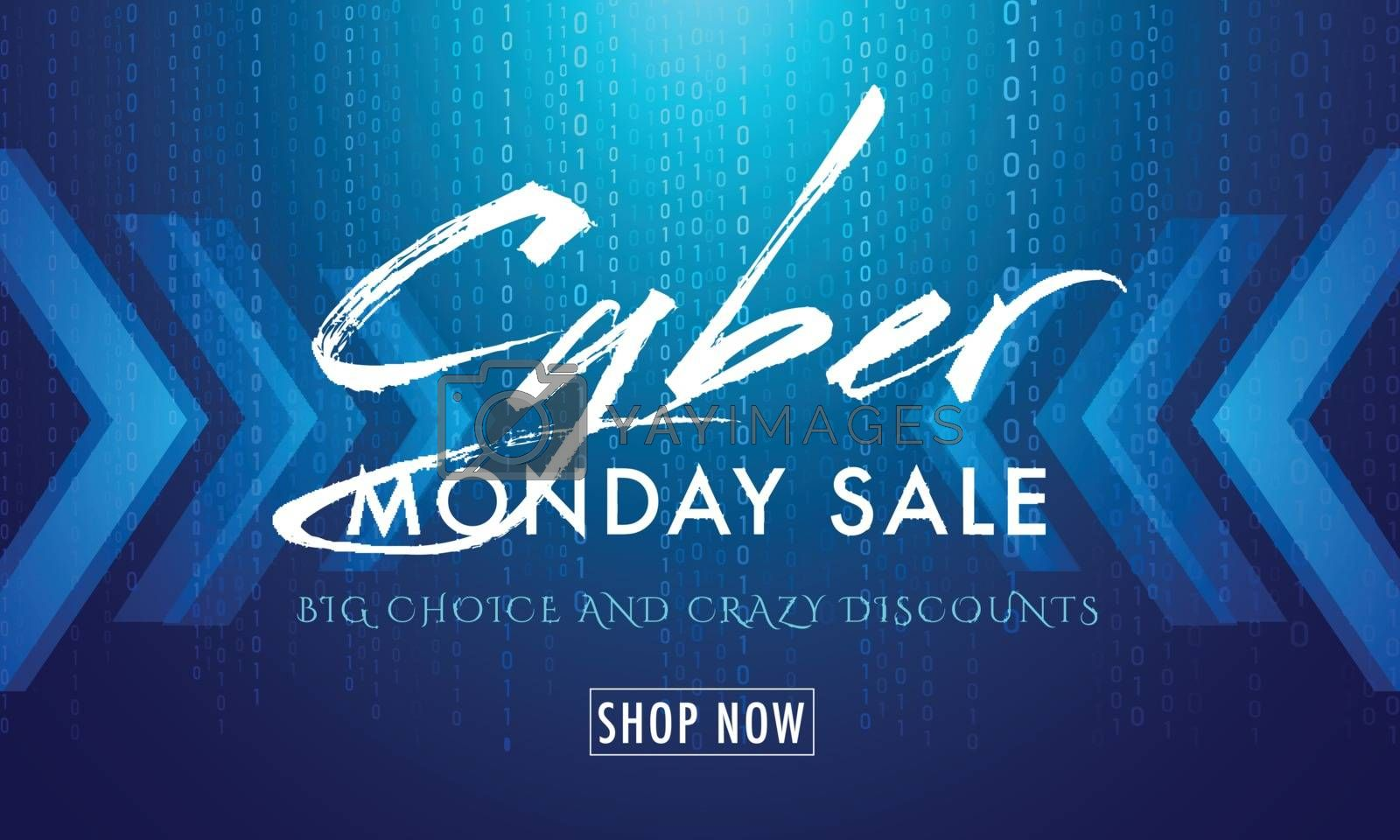 Shiny blue matrix coding background with text Cyber Monday Sale for advertisement concept.