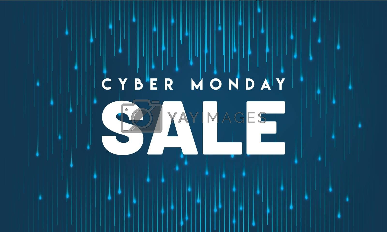 Poster or banner design for Cyber Monday Sale lettering on blue background with shiny digital rays.