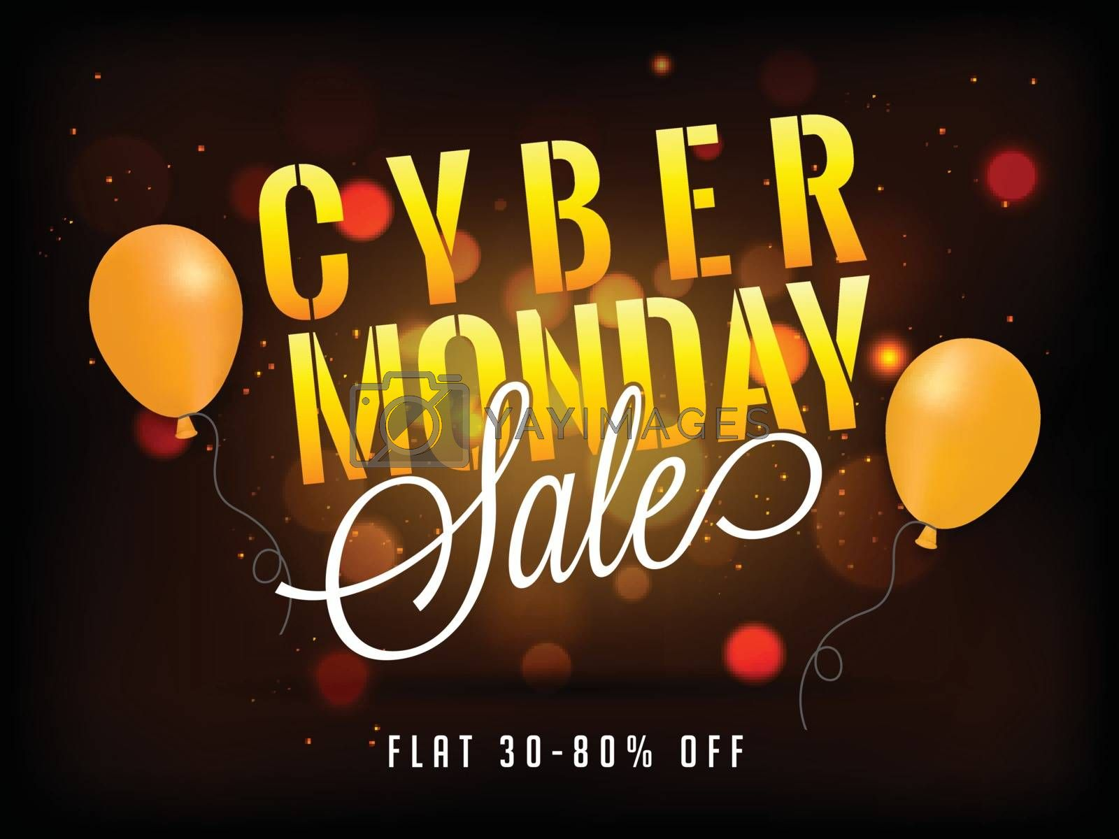 Cyber Monday sale poster or banner design with 30-80% discount offer on brown blurred background.
