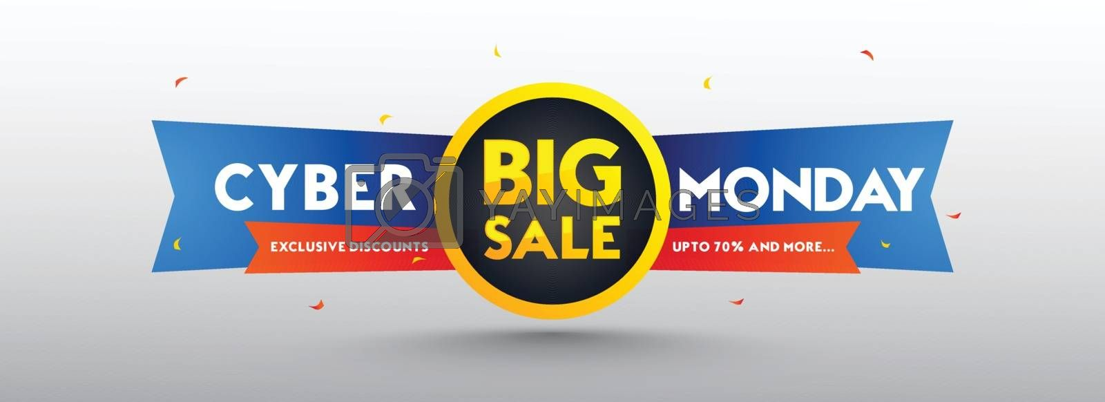 Big Sale, advertising banner design up to 70% discount offer, sale tag on white background. Social media header or poster.