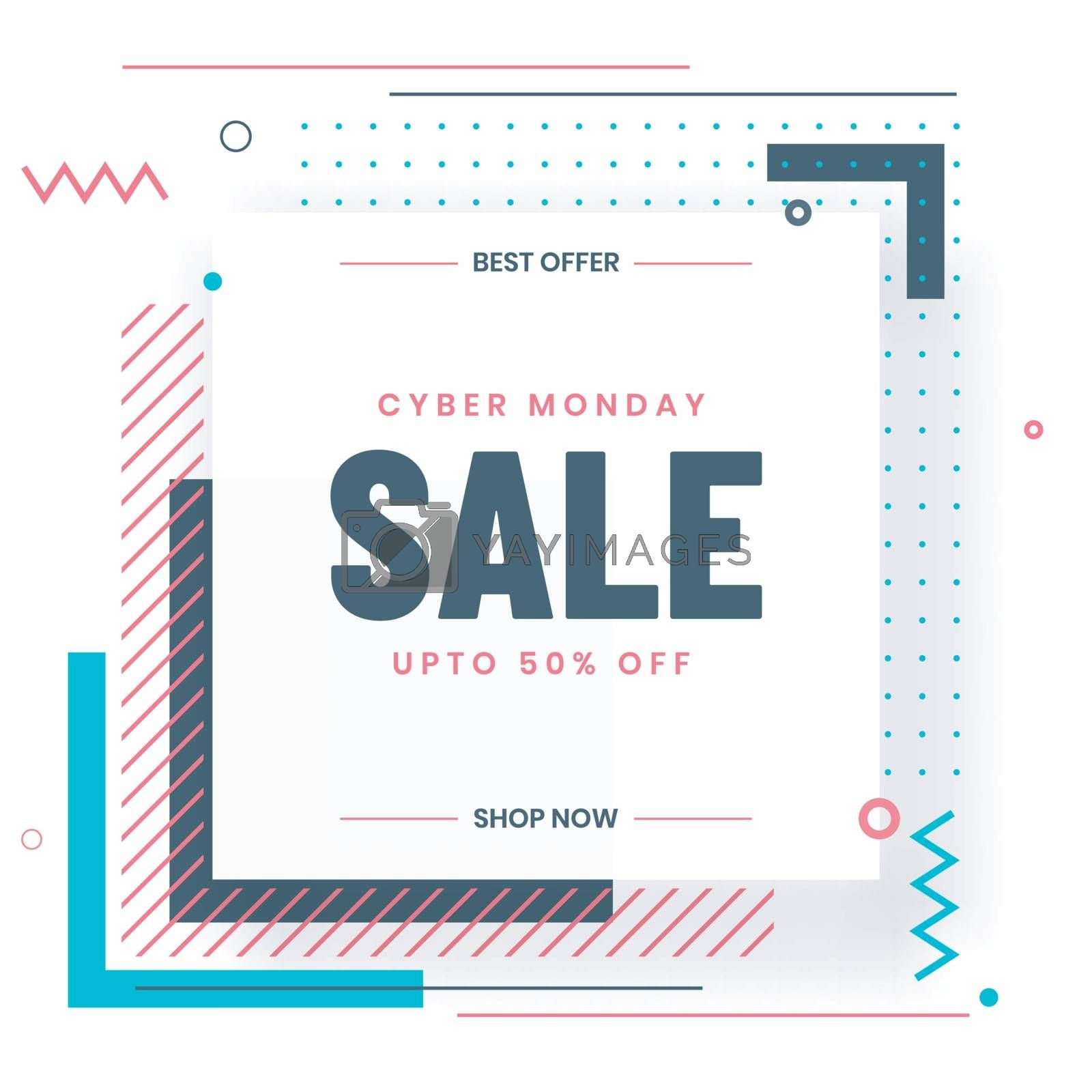Cyber Monday Sale template or flyer design with 50% discount off by aispl