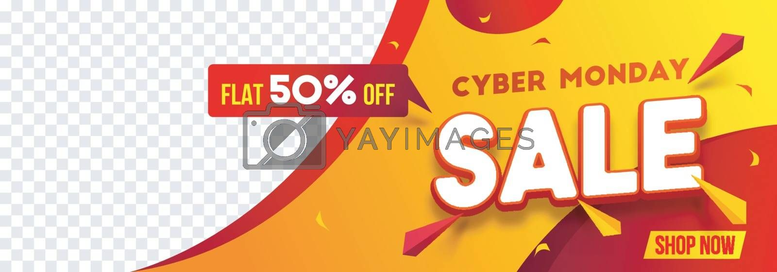 Website header or banner design with 50% discount offer for Cybe by aispl