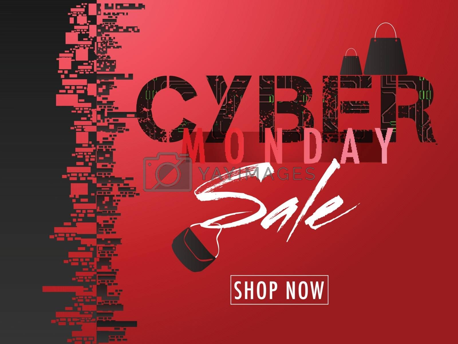 Creative template or advertisement banner design for Cyber Monday Sale in red and black color.