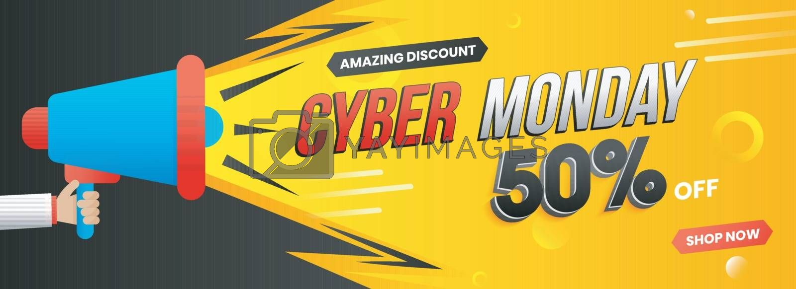 Hand holding megaphone for advertising concept, website banner design with 50% discount offer for Cyber Monday Sale.