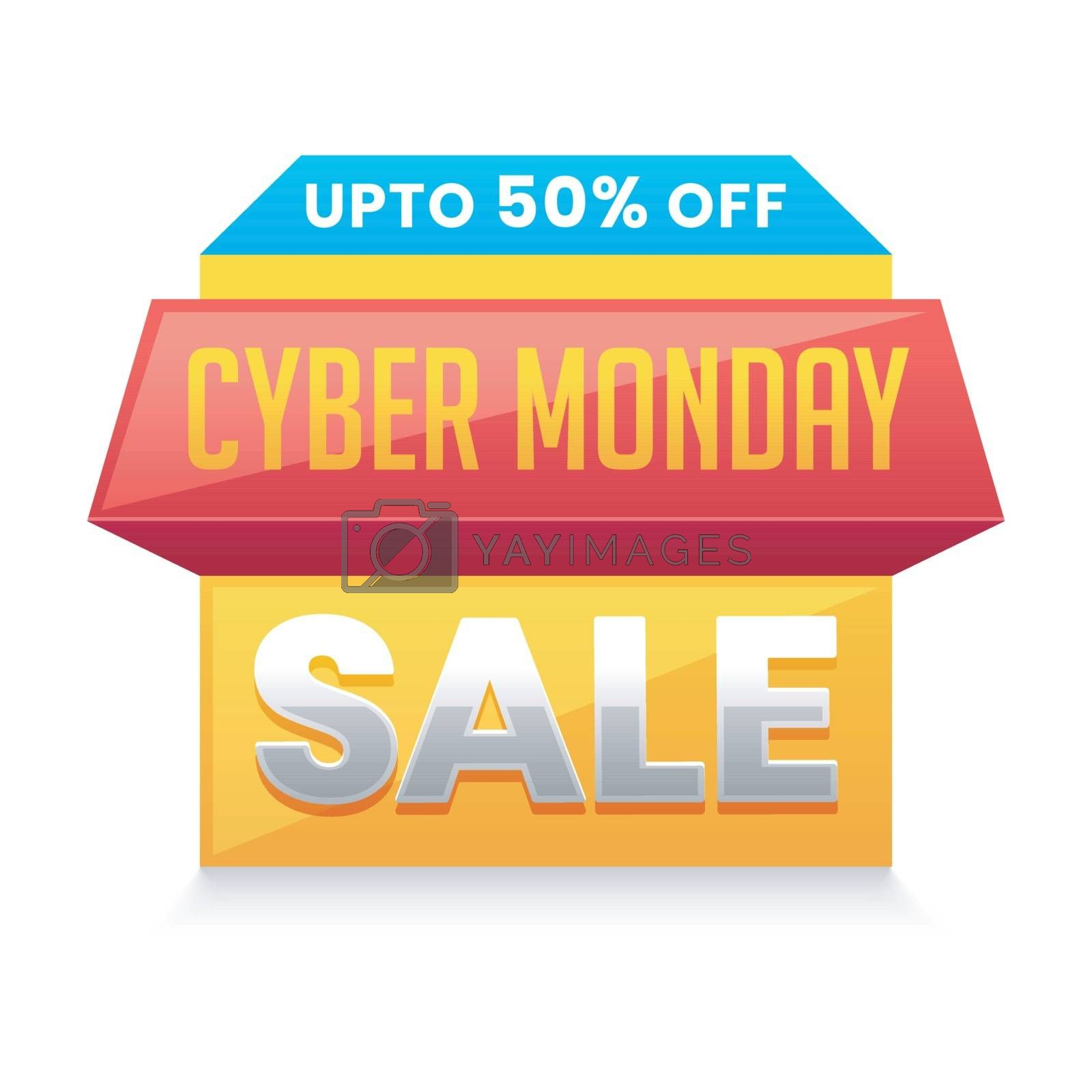 Cyber Monday Sale tag or label design with 50% discount offer on by aispl