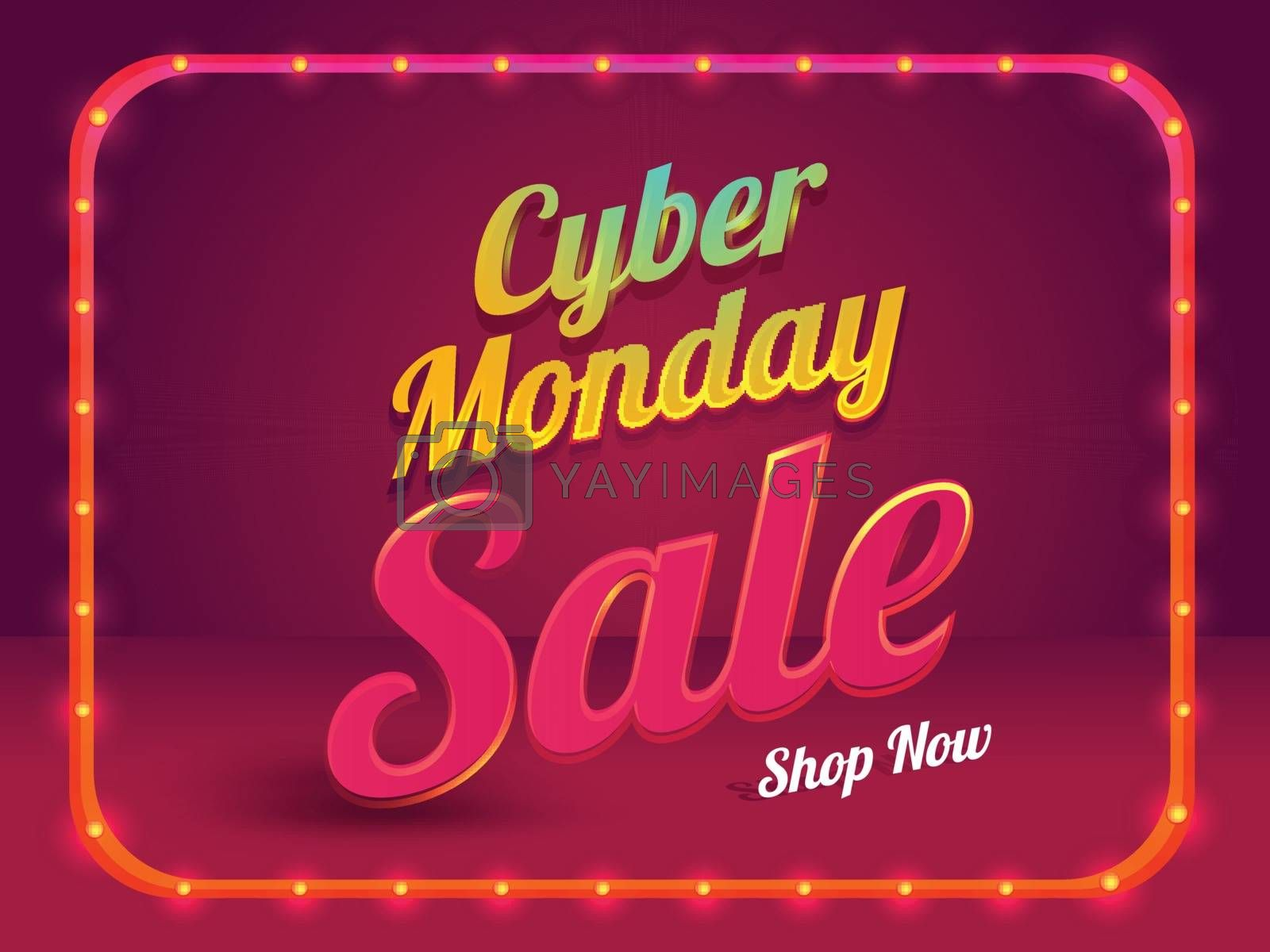 Cyber Monday sale poster or template design with lighting frame on glossy red background.