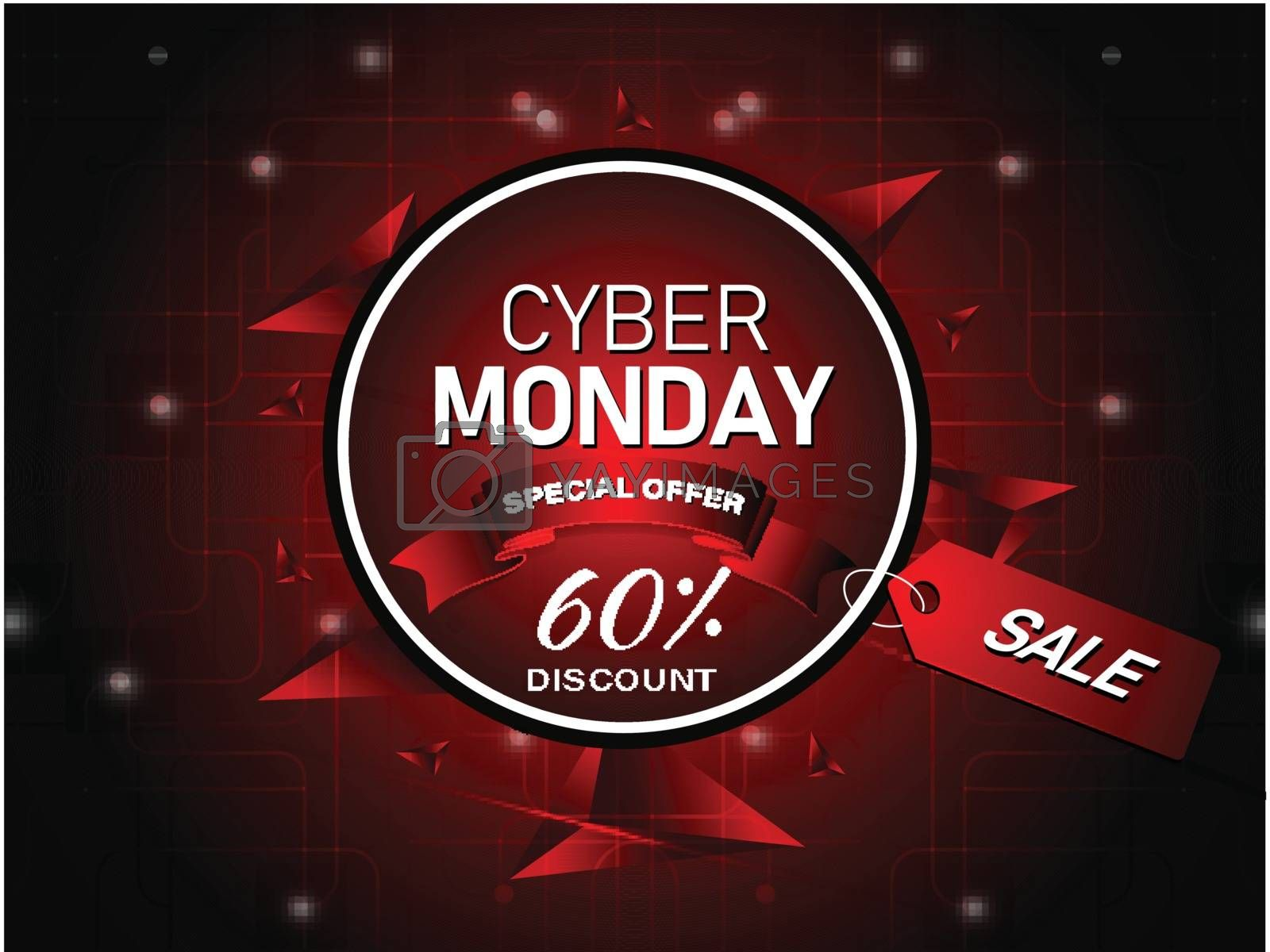 Special offer with 60% discount, advertising poster or template design with abstract elements for Cyber Monday Sale.