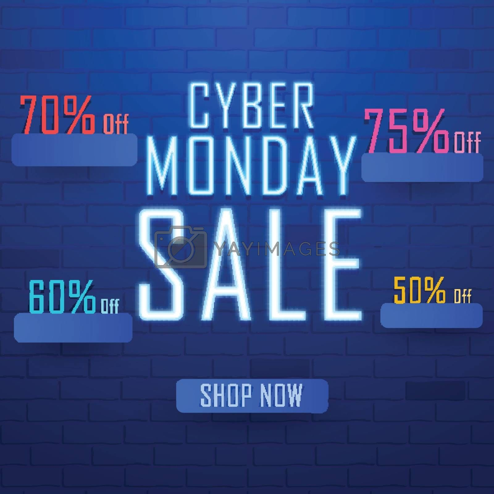 Neon text Cyber Monday Sale with different discount offers on shiny blue brick wall. Advertising concept based design.