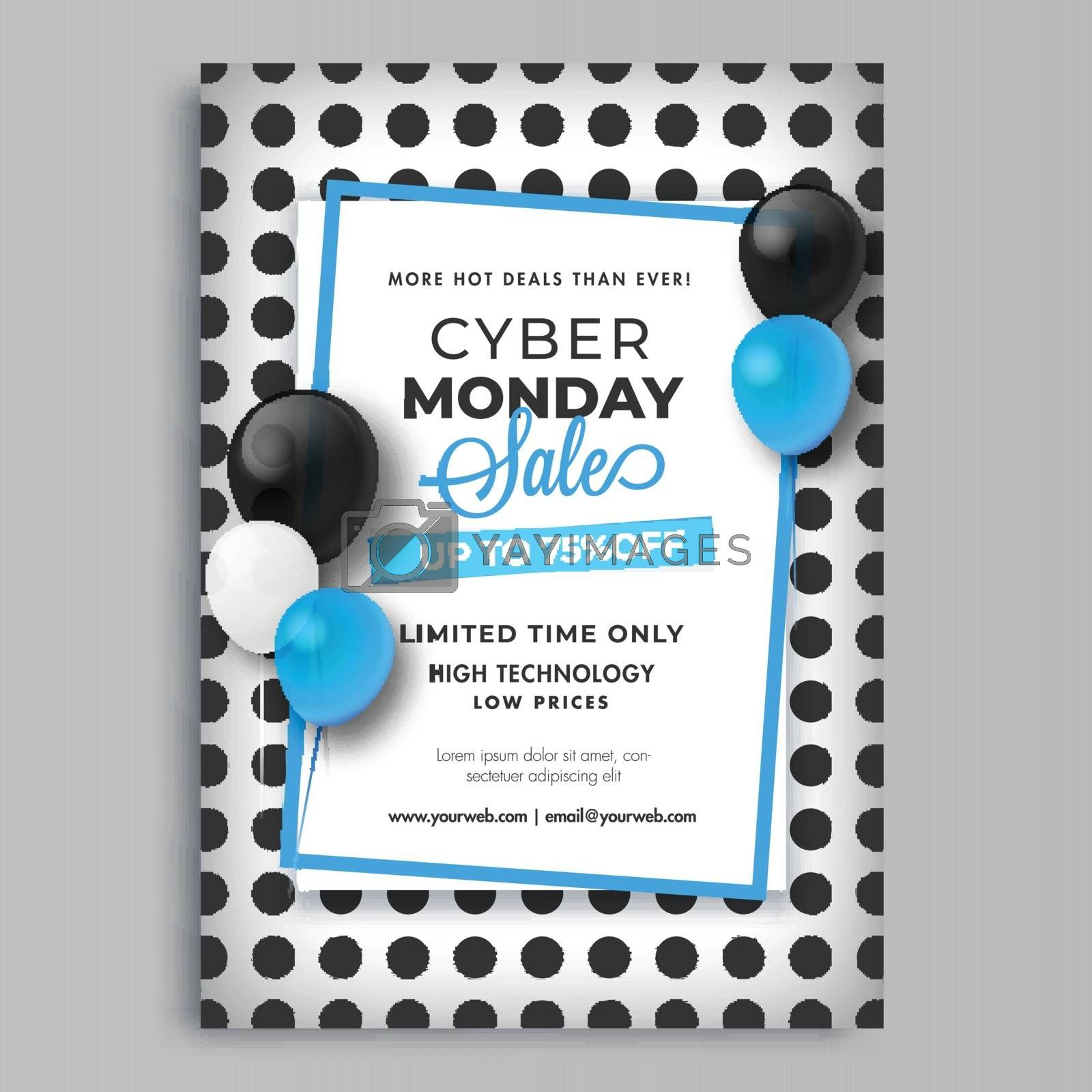 Cyber Monday Sale template with 75% discount offer and decorative with balloons on polka dots background.