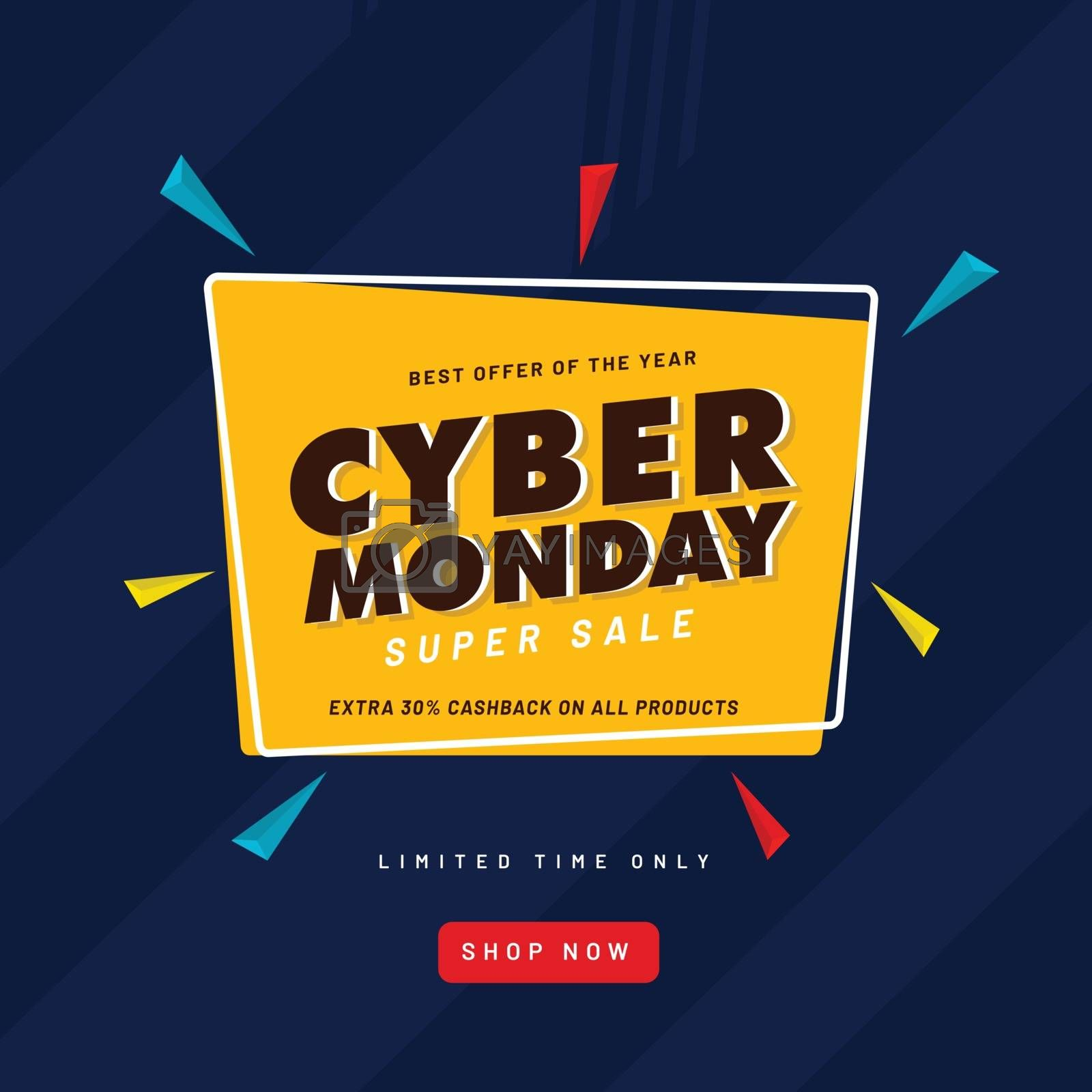 20% cashback offer on Cyber Monday Sale template or flyer design for advertising concept.