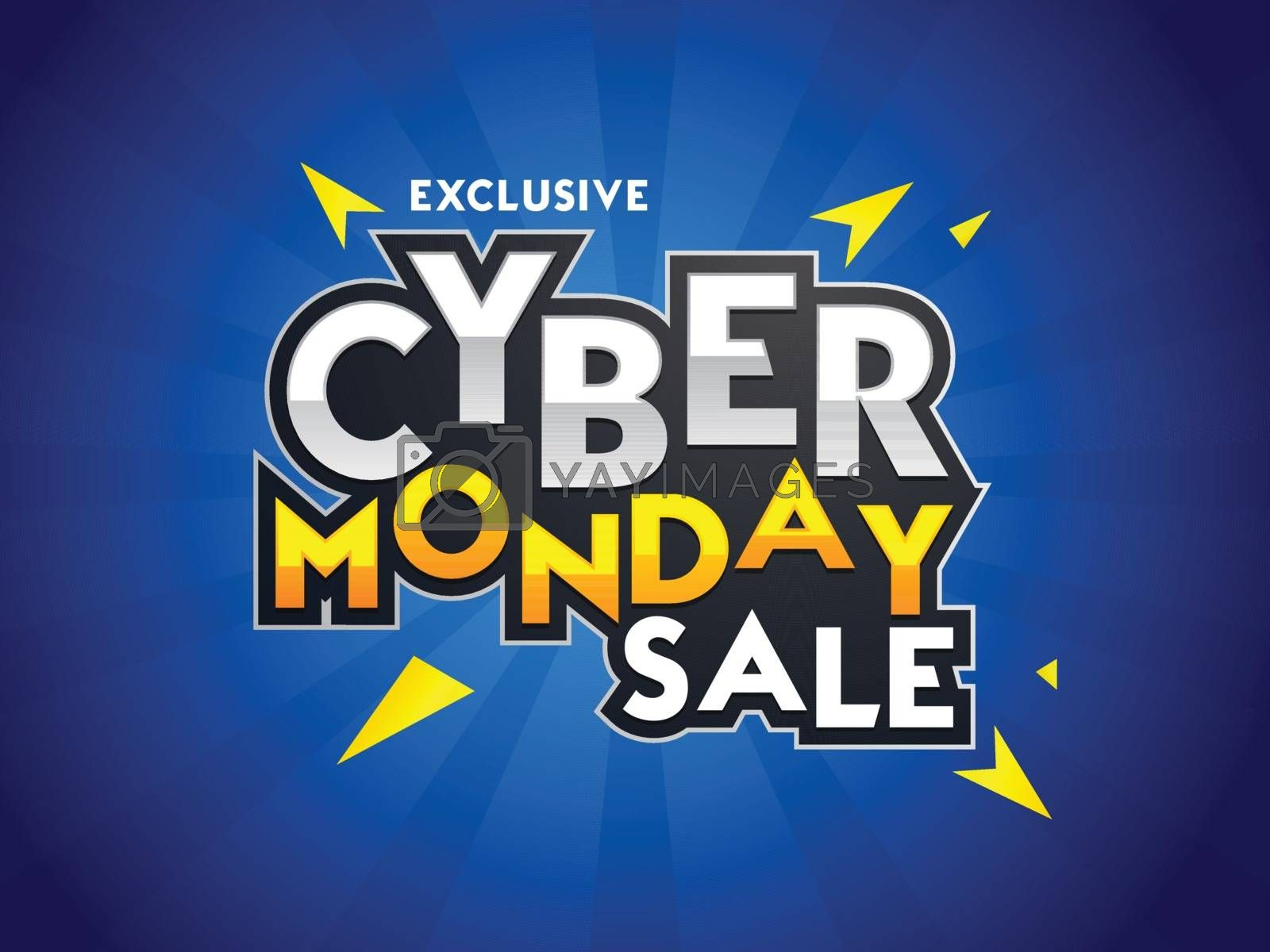 Sticker style text Cyber Monday Sale with abstract elements on blue ray background. Advertising poster or template design.