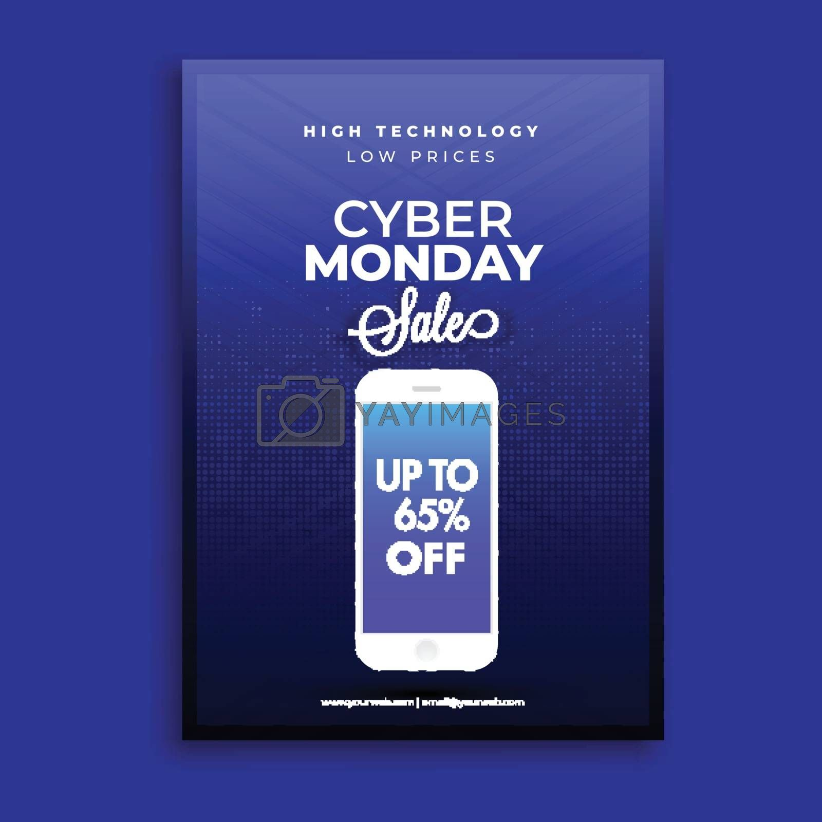 Cyber Monday sale template design with 65% discount offer on smartphone screen on blue background.