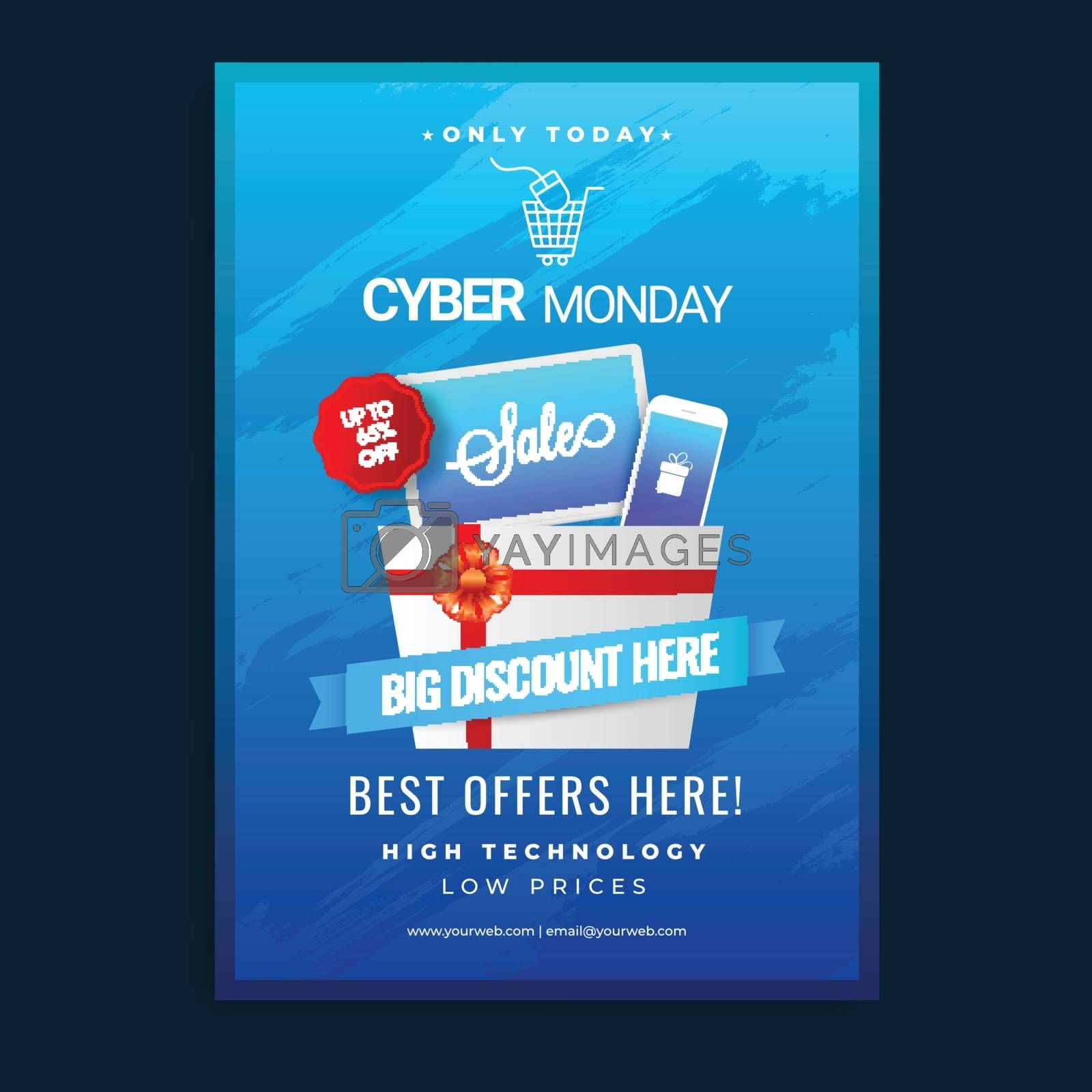 Cyber Monday sale template or flyer design with 65% discount offer on blue background.