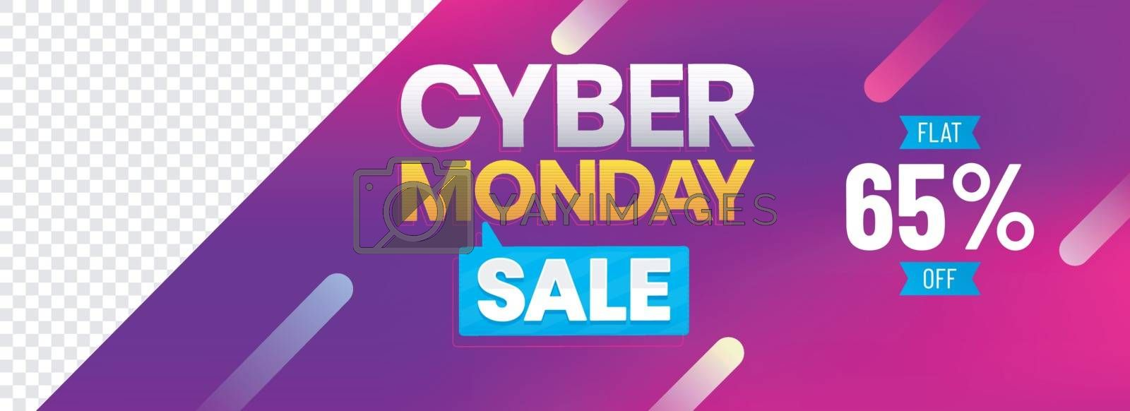 Cyber Monday Sale header or banner design with 65% discount offer on shiny purple background with space for your product image.