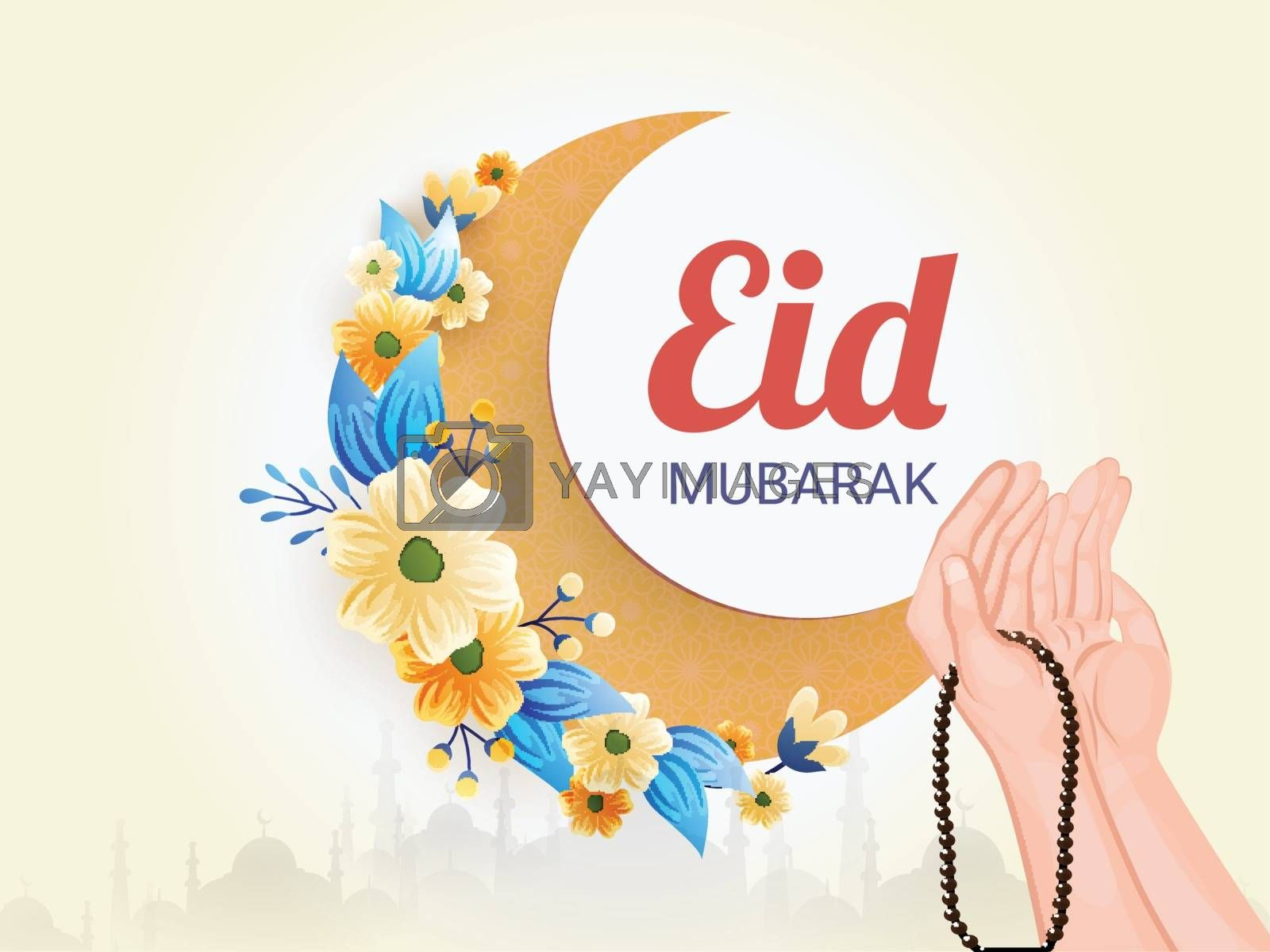 Eid Mubarak festival celebration poster or banner design with il by aispl