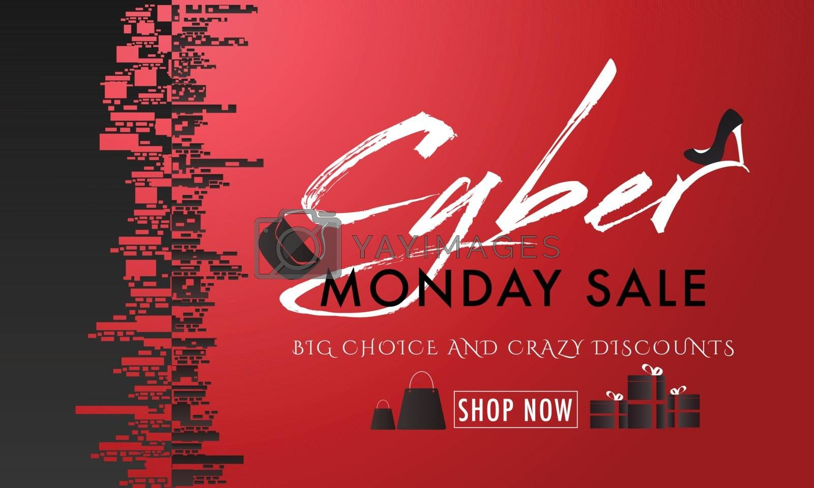 Big Choice Crazy Discount Offers on Cyber Monday Sale. Creative header, advertisement banner or promotional poster design.