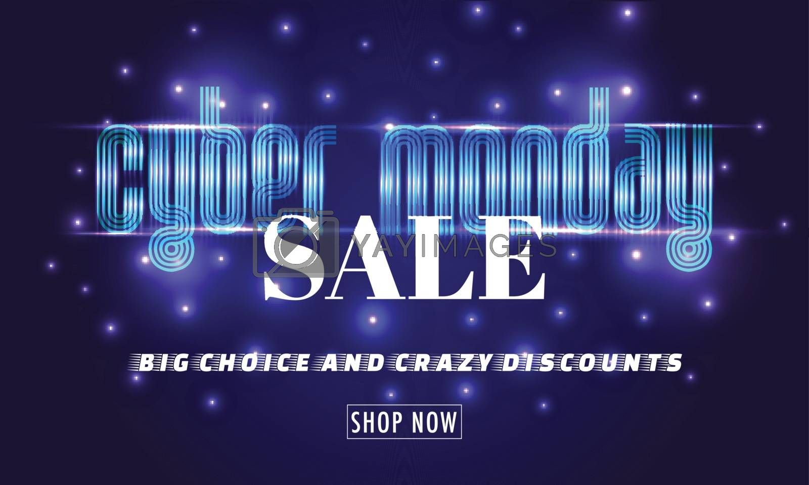 Website poster or banner design with creative lettering of Cyber Monday Sale on glowing purple background.