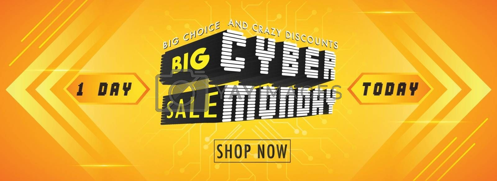 Big Sale advertising banner design with 3D creative text Cyber Monday on orange background.