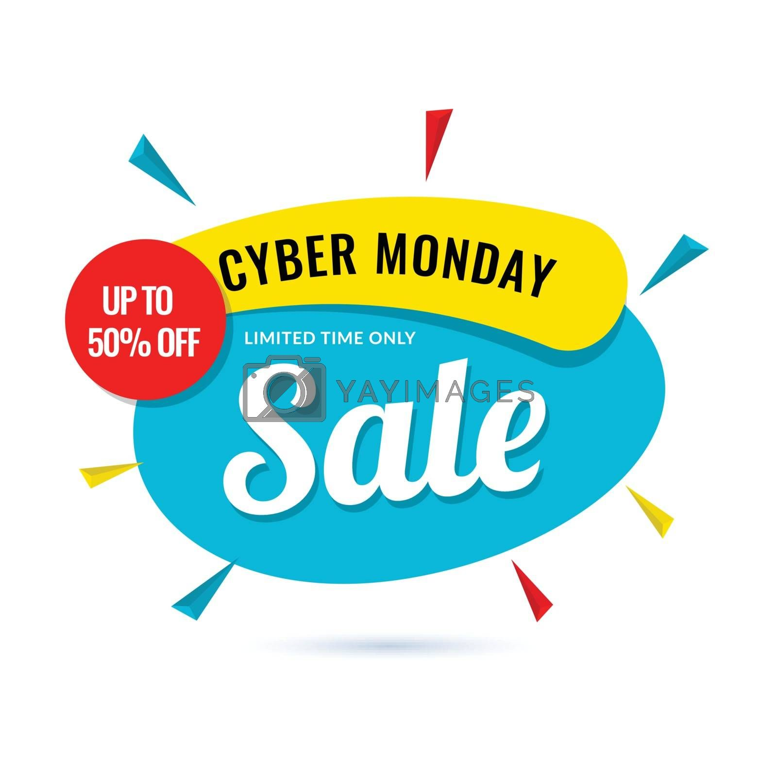 Cyber Monday Sale poster upto 50% offer on white background. by aispl