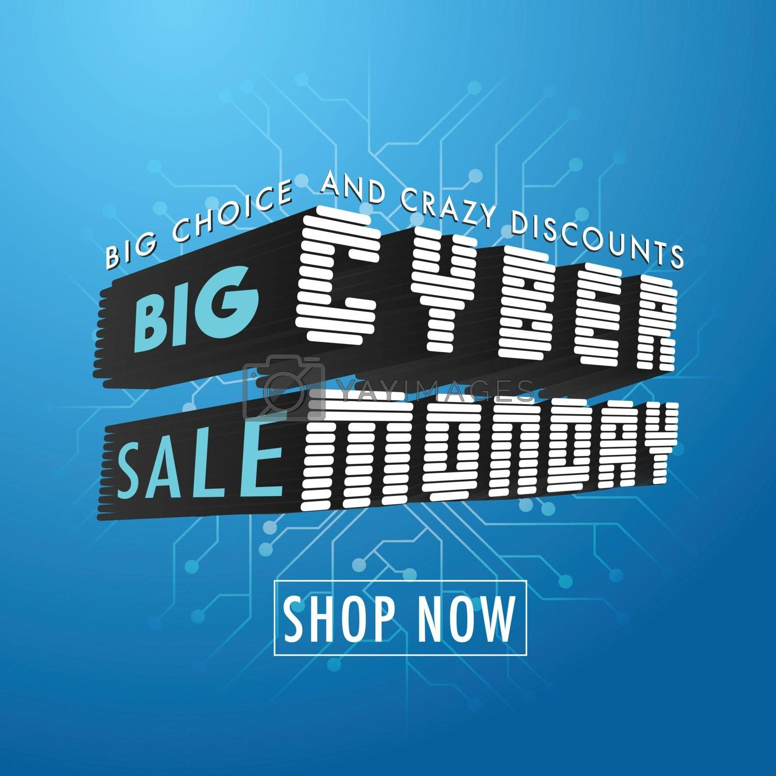3D Creative Text Cyber Monday on blue circuit background. Big Sale advertising template design.