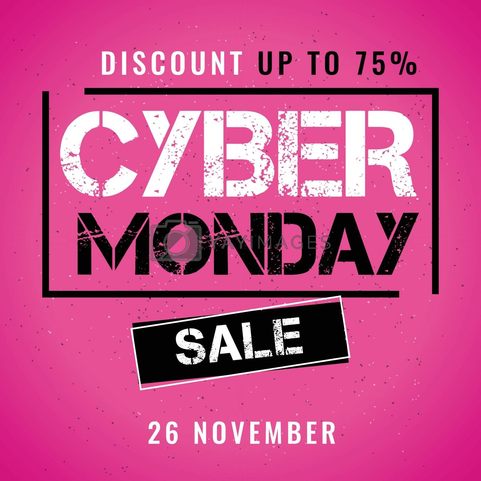Cyber Monday Sale banner or poster design with 75% Discount offer.