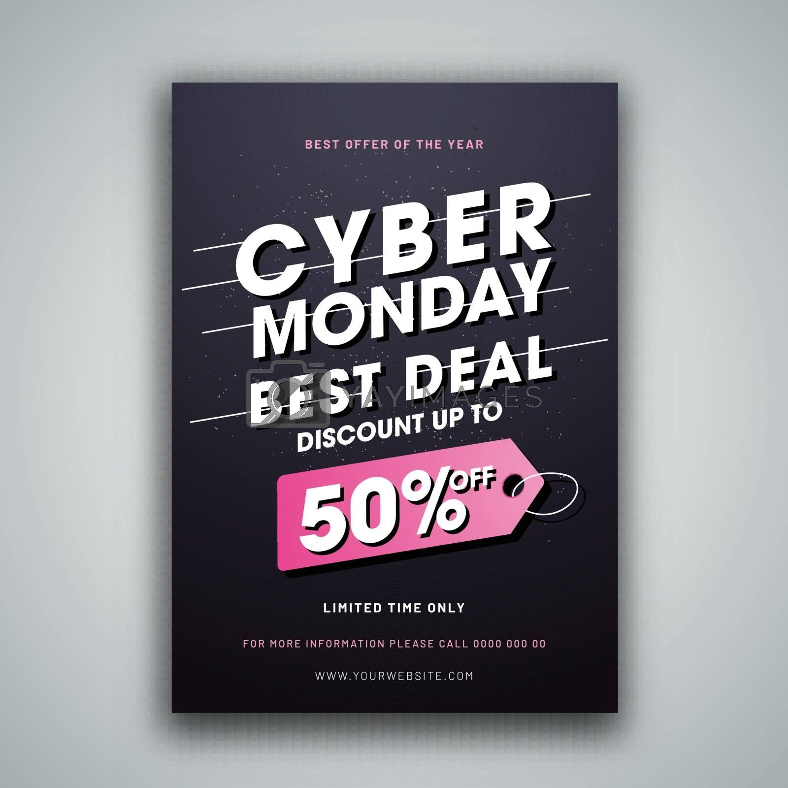 Advertising template or flyer design with 50% discount offer for Cyber Monday Sale.