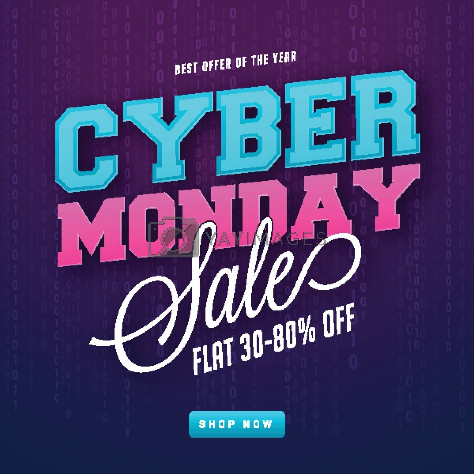 Blue and pink lettering of Cyber Monday sale, flat 30-80% discount offer. Advertising template design.