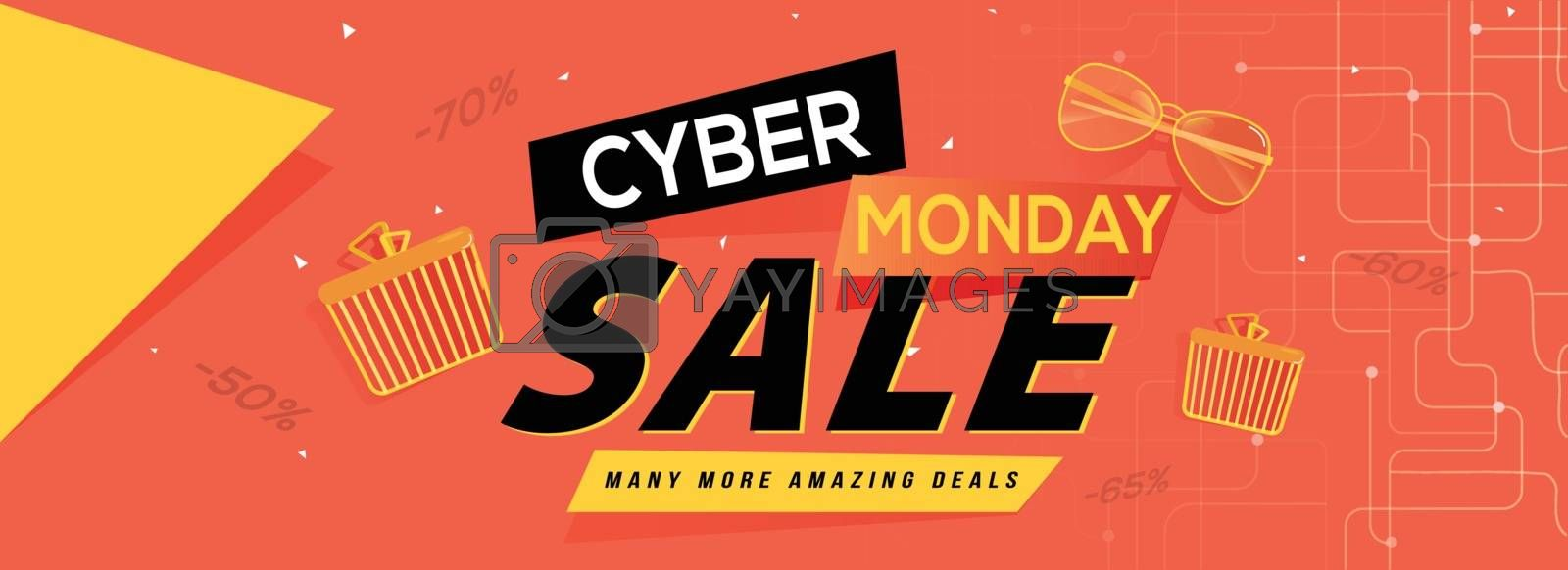 Cyber Monday Sale banner or header design with exclusive discount offer and shopping elements.