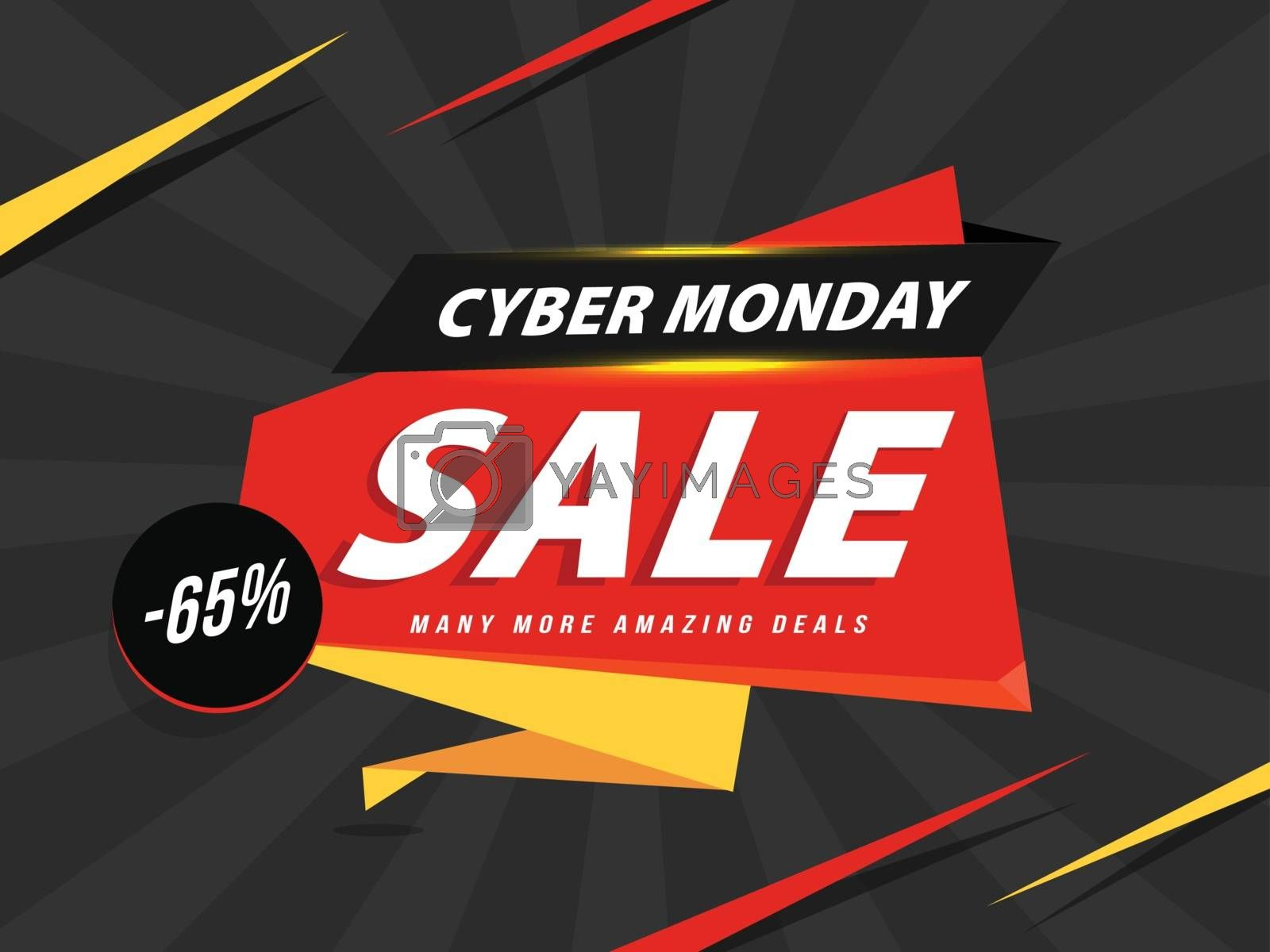 Sale sticker or ribbon with -65% discount offer for Cyber Monday by aispl
