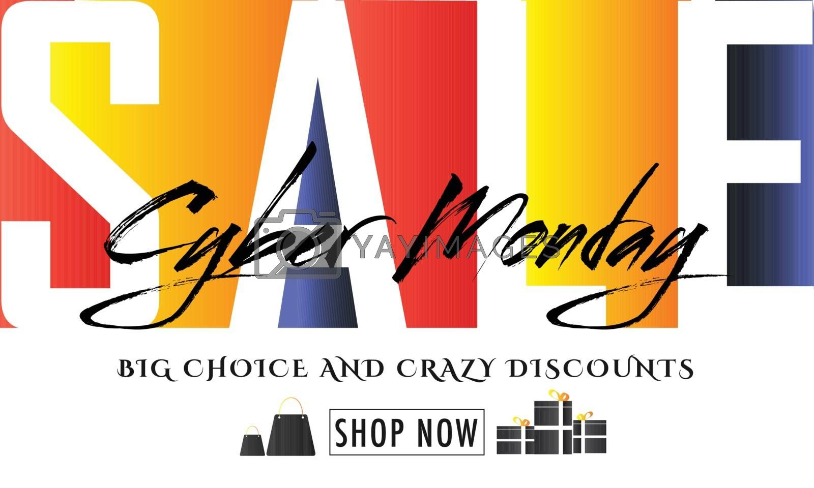 Sale poster or banner design with crazy discount offers on Cyber Monday Sale.