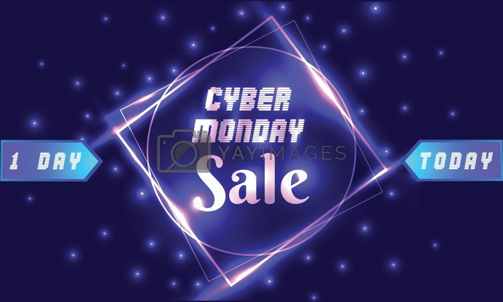 Cyber Monday Sale poster or template design for advertising concept.