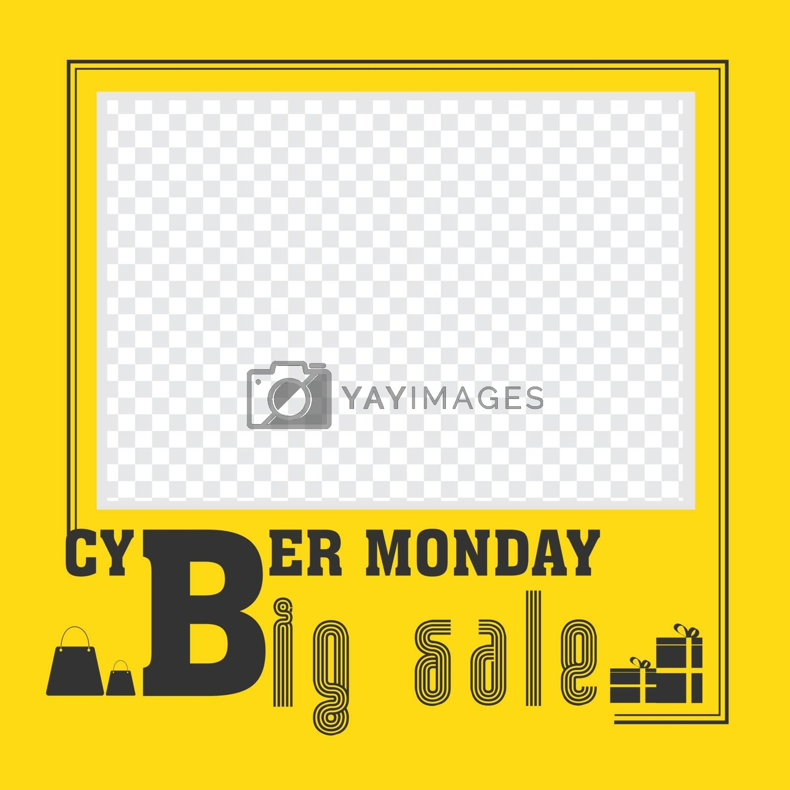 Big Cyber Monday Sale template or poster design in yellow color  by aispl