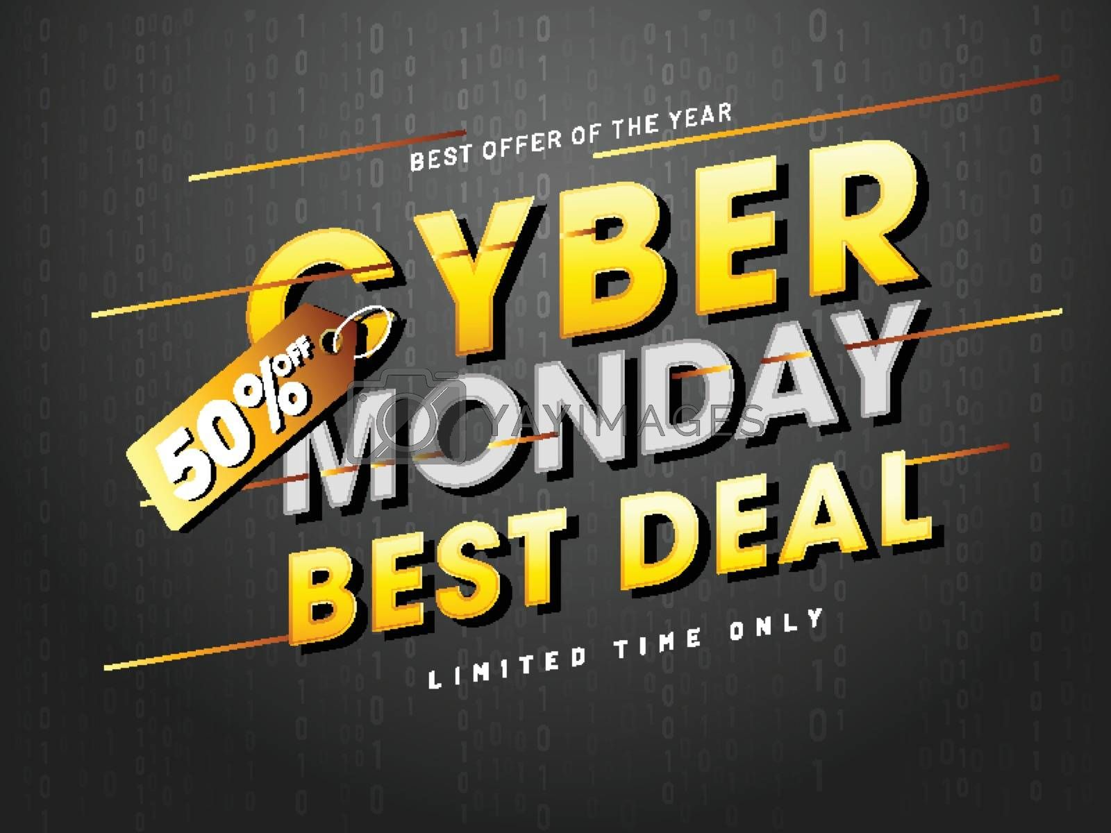 Best deals and offer on Cyber Monday sale with 50% discount offer on black background.