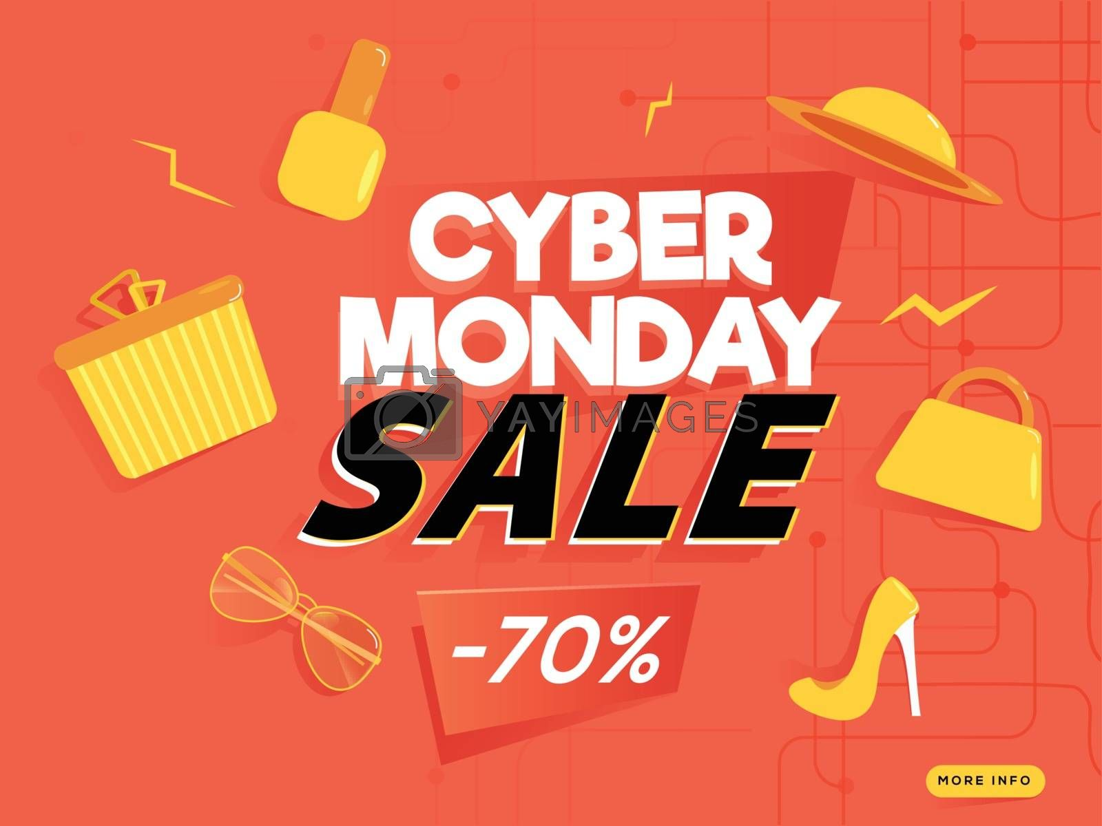 Cyber Monday Sale poster or banner design, 70% discount offer with shopping elements on orange background.
