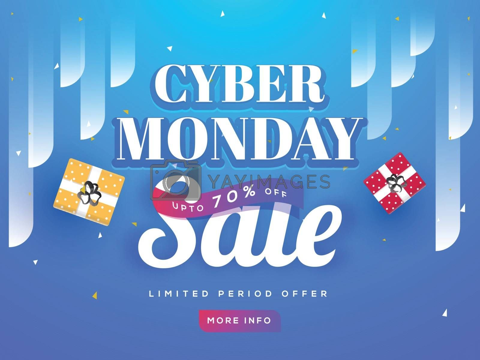 Cyber Monday Sale text on shiny blue background with 70% discount offer. Advertising poster or template design.