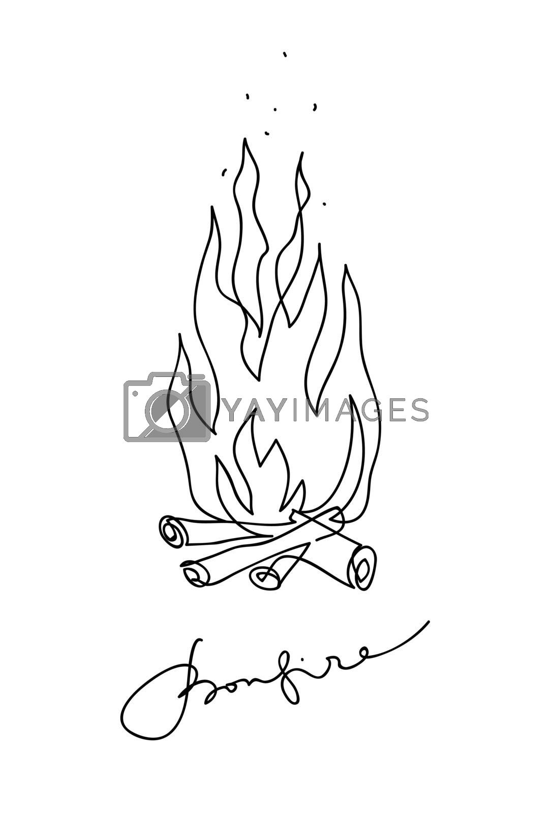 Bonfire icon. Campfire sketch line art drawing style. Continuous line art drawing. Vector outline illustration.