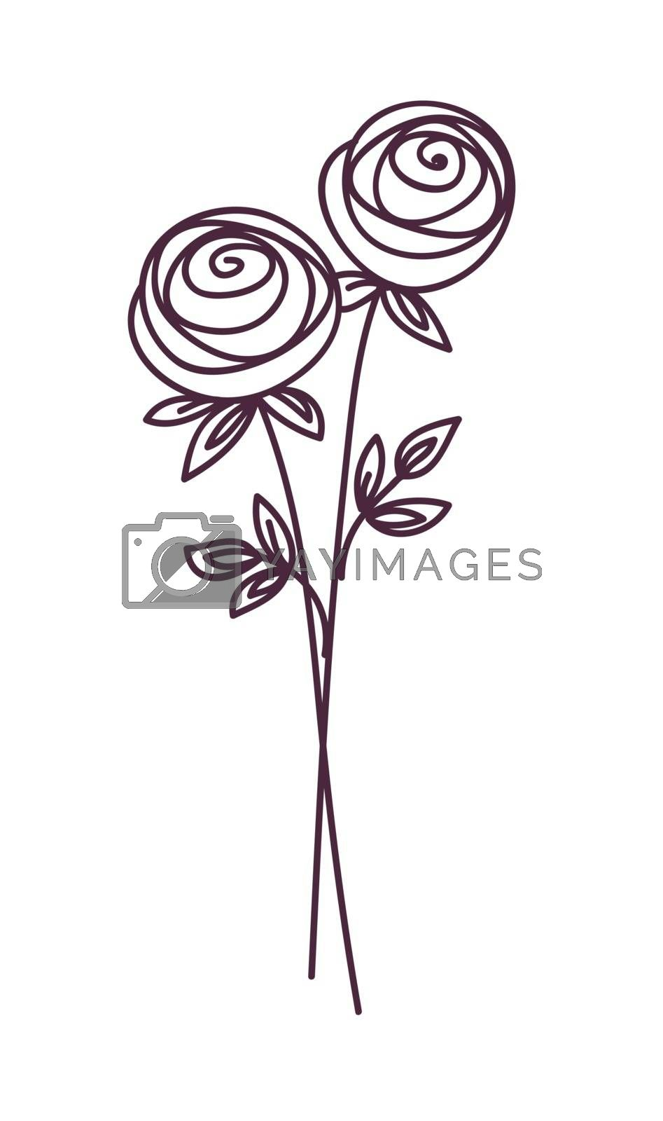 Rose. Stylized flower symbol set. Outline hand drawing icon. Decorative element for wedding, birthday design.