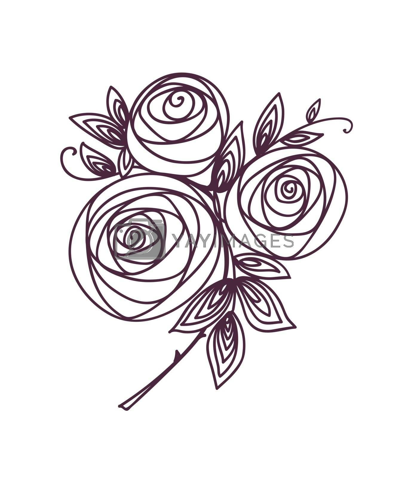 Roses. Stylized flower bouquet hand drawing. Outline icon symbol. Present for wedding, birthday invitation card