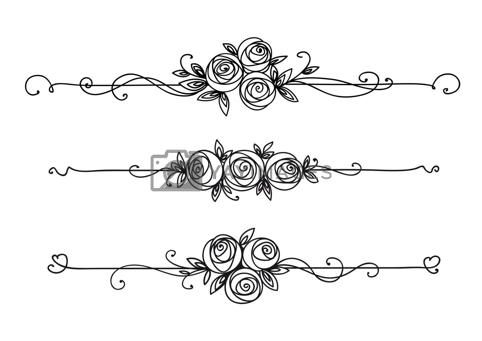 Floral elegant patterns black and white. Cover page design. Vintage elements for decor line art. Rose flower outline.