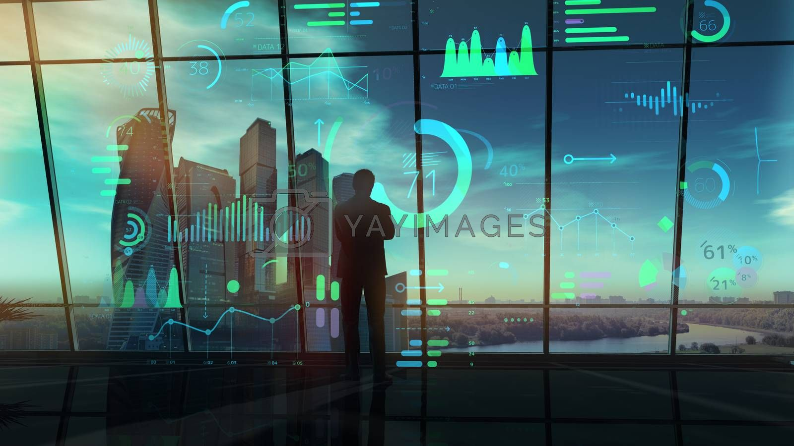Silhouette of a businessman carefully reviewing infographic data.