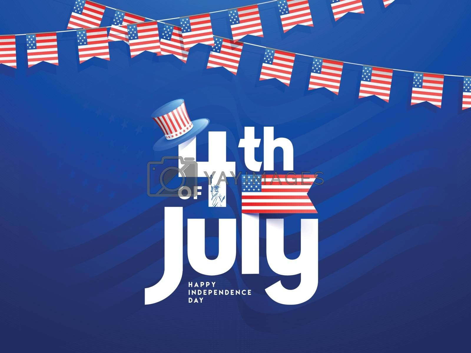 4th Of July text with uncle sam hat in USA flag color for Happy Independence Day banner or poster design.