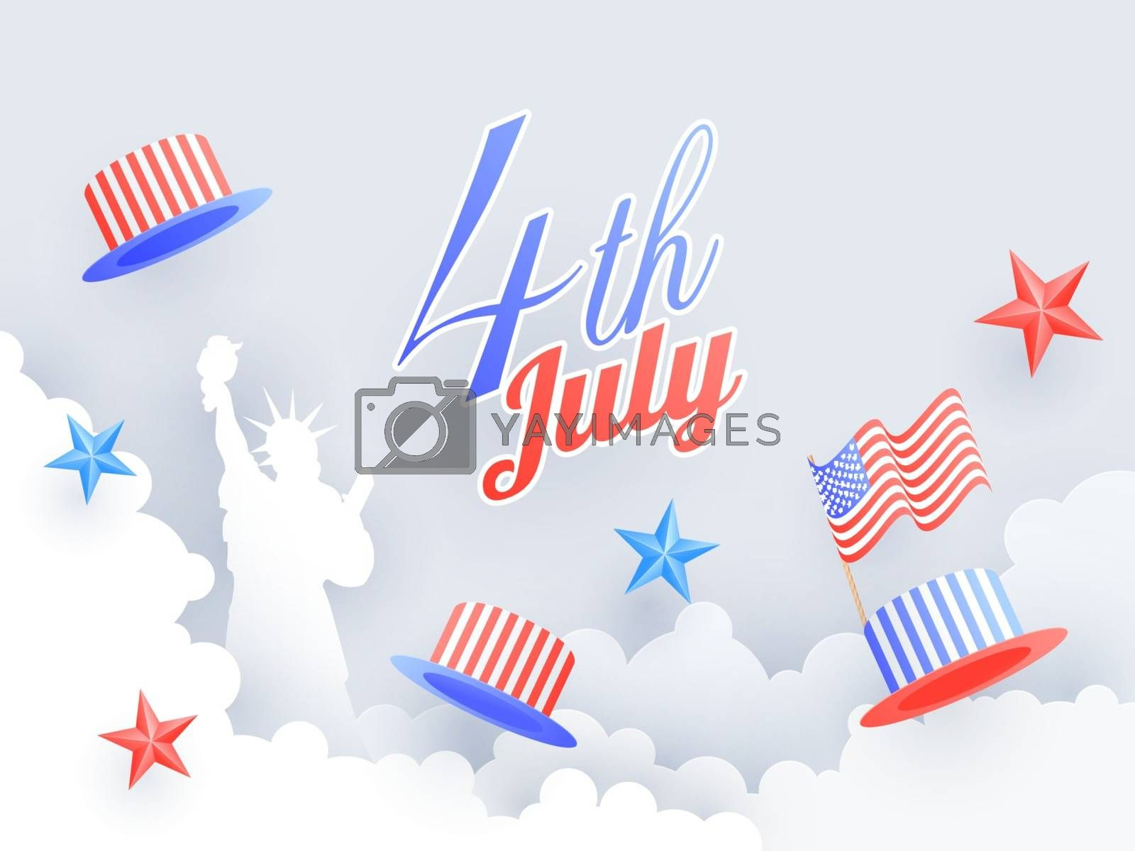 4th of July celebration poster or banner design decorated with Statue of liberty, uncle sam hat  and colorful stars on paper cut cloudy background.