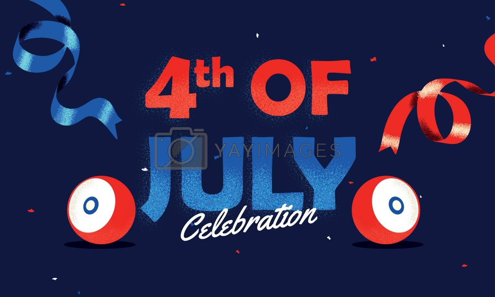 Royalty free image of 4th Of July Celebration banner or poster design with woofer illu by aispl